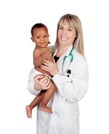 Alternative medicine female doctor examining baby at cherubino health center