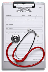 Gray clipboard with medical patient forms and red stethoscope