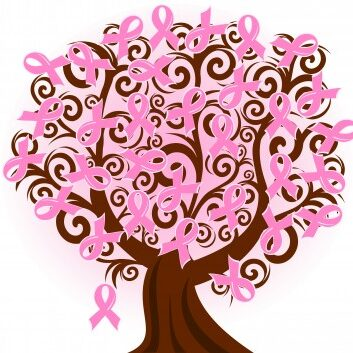 Drawing of a tree with pink breast cancer awareness bows instead of leaves