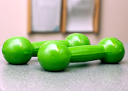 Green rubberized Dumbells for at home Active Care
