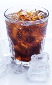 glass of ice cold coke