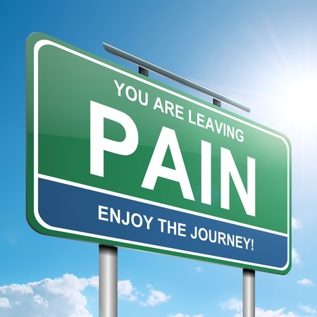 Sign with the words you are leaving pain as result of laser therapy