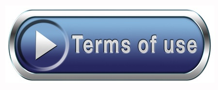 blue button with the words terms of use in grey on disclaimer policies and refund policies page