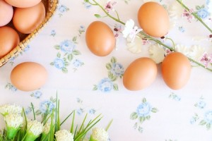 Brown eggs on a white and blue tablecloth to represent foods containing cholesterol