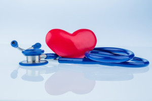 3-D drawing of a red heart on a blue stethoscope