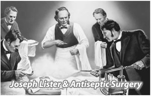black and white drawing of Joseph Lister and Antiseptic Surgery
