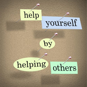 Photo with words help yourself by helping others