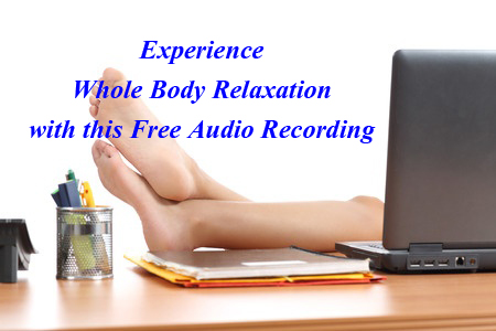 Woman with feet up on desk listening to RMF Technique by Dr Ron Cherubino