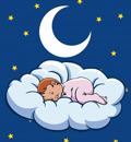 Drawing of baby sleeping on a cloud