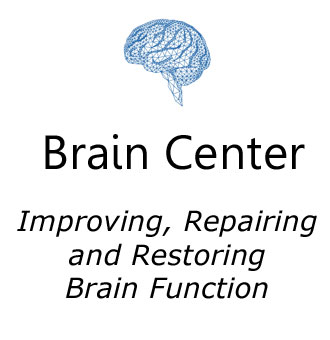 Brain center icon in blue