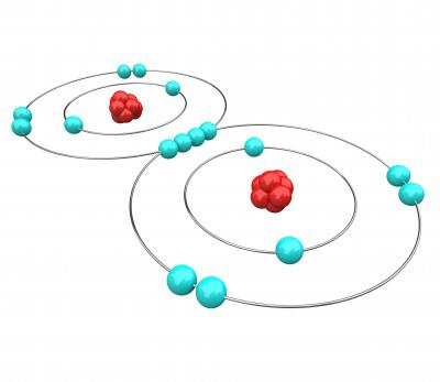 Drawing of atomic model in red and turquoise