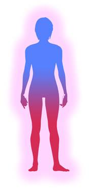 Drawing of silhouette of a person in blue and red with energy imbalance of nervous system